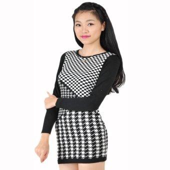 Áo dài tay váy kẻ ô vuông len cotton HQ Lens (Đen)