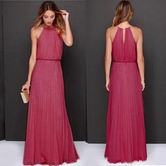 Cyber Women's Sexy O-neck Sleeveless Back Hollow Out Long Dress ( Rose Red ) - Intl
