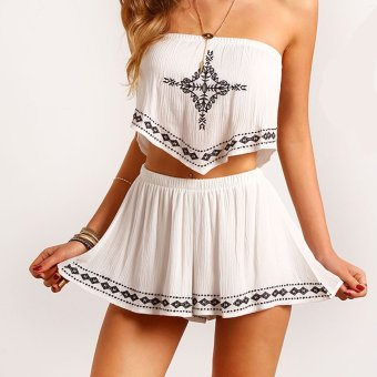ZAFUL Woman Suit Nation Tube-tops Slash Culotte (White) - Intl