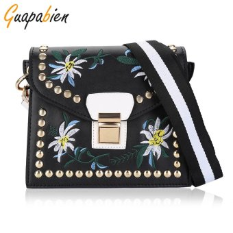 Guapabien National Style Insert Lock Rivet Floral Embroidery Women Shoulder Bag(Black) - intl