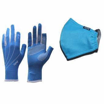 Bộ gồm găng tay easy+ khẩu trang chống nắng UPF50+ zigzag COGM13 (xanh xám+xanh da trời)