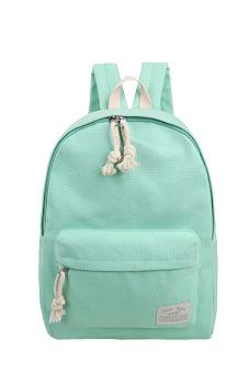 Pure Color Multi-purpose Canvas Schoolbag School Outdoor Travel Backpack Tablet Carry Bag Green - intl