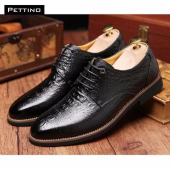GIÀY NAM CÁ SẤU CAO CẤP - Pettino GD-10 (đen)
