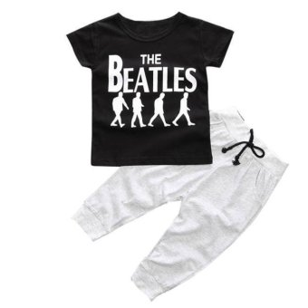 1Set Kids Baby Boy T-shirt Tops+Long Pants Black