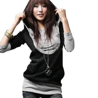 ZANZEA Women Long Hoodie Blouse Tops Jumper Coat Jacket Sweater Sweatshirt Black - intl