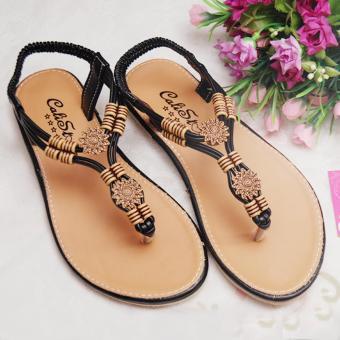 Giày xăng đan quai họa tiết GD51 (Nâu Đen)