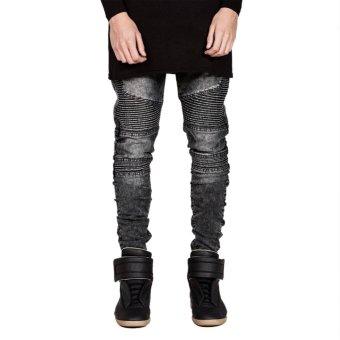 Mens Straight Slim Fit Biker Jeans(Gray) - intl