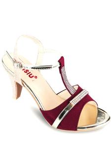 Giày cao gót hở mũi Sarisiu XN560 (Đỏ đô)