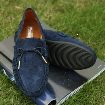 Jarma man's loafers slip-Ons shoes driving shoes male shoes flat moccasin Tods(Blue) - intl