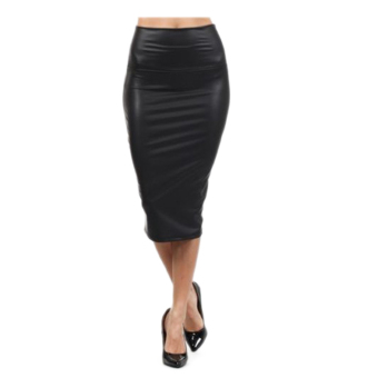 Fancyqube Casual Fashion High Waisted Faux Leather Pencil Skirt Black