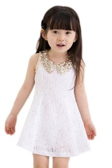 Cyber Girl's Sleeveless Lace Vest Skirt Princess Dress (White) - intl