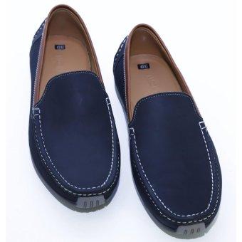 Giày lười nam chất liệu da phối màu
