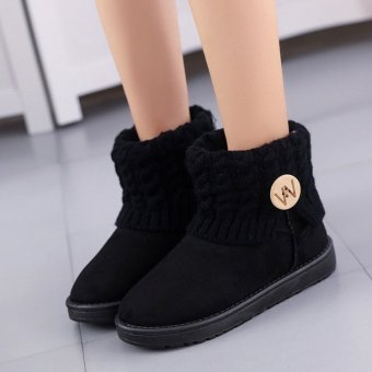 Women's Winter Wool Short Suede Booties Warm Shoes Knit Thicken Ankle Snow Boots Black - intl