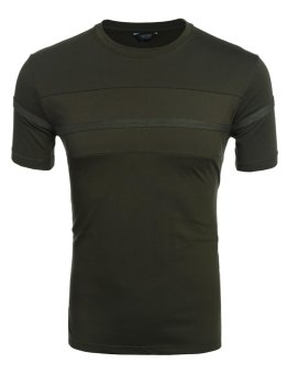 Linemart Men Casual O-Neck Short Sleeve Patchwork Contrast Color Pullover T-Shirt ( Amy Green ) - intl