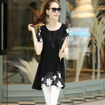 Summer Fashion 2017 Chiffon Blouses Women Casual Short Sleeve Embroidery Flower Print Patchwork Tops(Black) - intl
