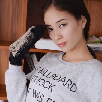 Women Girls Lady Winter Gloves Fur Mittens Fleece Cartoon Hedgehog Heated Gloves Black - intl