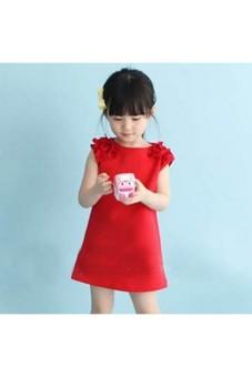 Moonar Summer Baby Kids Girls Flower Sleeveless Princess Dress (Red)