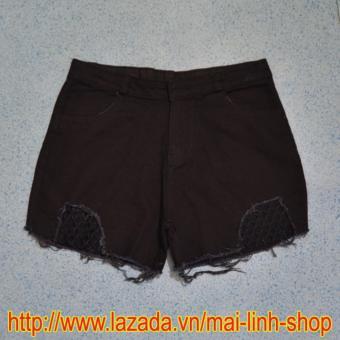Quần Short Kaki Nữ Phối Lưới - ML916 (Đen)