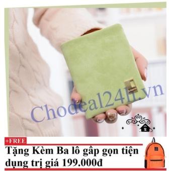 Ví cầm tay vuông nhỏ nhắn cho nữ CDVN02 (xanh lá) + Tặng kèm balo du lịch gấp gọn