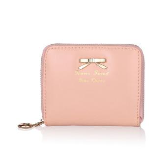 Women Fashion Cute Purse Clutch Wallet Short Small Bag PU Card Holder Pink
