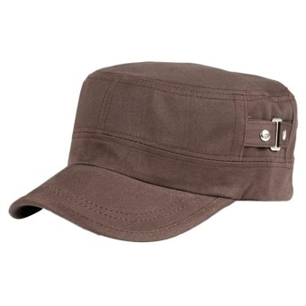 Casual Cotton Cloth Flat Top Cap Brown - Intl
