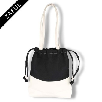 ZAFUL Women's PU canvas leather drawstring bag tote bag(Black) - intl