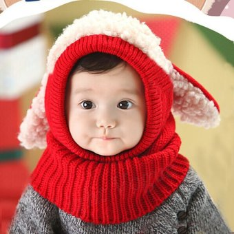 Winter Beanie Baby Kids Boy Girl Warm Hat Hooded Scarf Earflap Knitted Wool Cap Red - intl