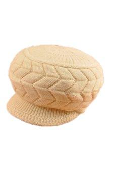 Braided Knit Brim Visor Ski Hat (Beige)