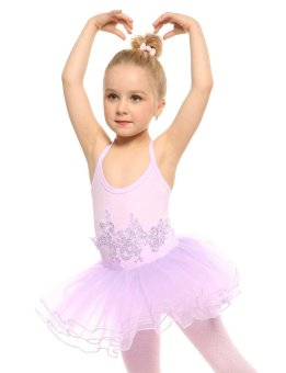 Linemart New Kids Girl Spaghetti Strap Floral Appliques Multi Layer Ruffle Ball Gown Dress ( Purple ) - intl