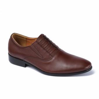 Giày da nam công sở lịch lãm đế bằng nâu SMARTMEN GL-0956