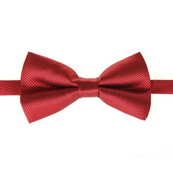 Fashion Men's Tuxedo Bowtie Solid Color Neckwear Adjustable Wedding Party Bow Tie Necktie Pre-Tied Burgundy - Intl