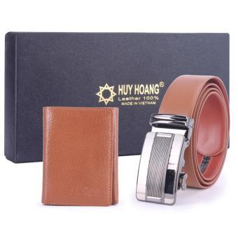 Bộ Bóp & Dây nịt nam Huy Hoàng da bò màu da HH4125-HH3136