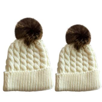 2 PCS Unisex Parents Adults Kids Knitted Woolen Yarn Knitting Winter Autumn Warm Outdoor Ski Cap Hat White - intl