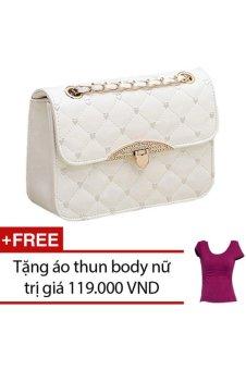 Túi xách nữ đính đá họa tiêt trái tim TTGG (Trắng) + Tặng 1 áo thun body nữ