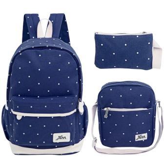 3pcs Sweet Dot Wrist Wallet Shoulder Messenger Bag Portable Backpack - intl