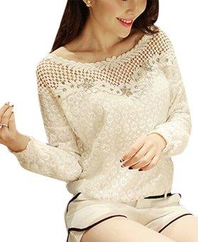ZANZEA Blusas Femininas 2016 Women Lace Hollow Out Elegant Blouses Shirts Women Clothing White Roupas Tops Plus Size (White)