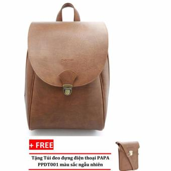 Balo laptop PAPA PPB001 (Bò Nhạt) + Túi đeo đựng điện thoại PAPA PPDT001