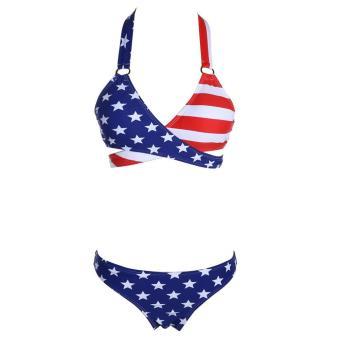 Womenswiwear Bikmini set Print Fora Puh-up Padded swimsuit