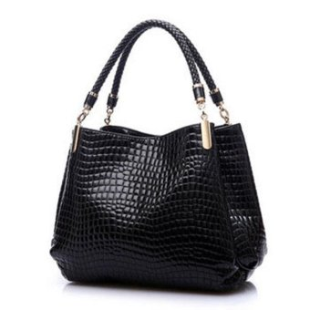 2017 Alligator Leather Women Handbag Fashion Famous Brands Shoulder Bag Black Bag Ladies Femininas Sac (Black) - intl