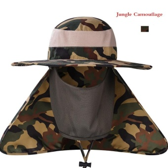 Lan-store Professional Outdoor Summer Sun Hats Wide Brim Breathable Cap for Beach Fishing Hiking Camping Anti-UV Anti Mosquito Hats (Jungle) - intl