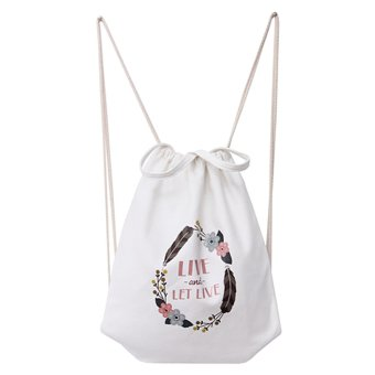 BolehDeals Canvas Drawstring Bag School Bags Handbag Sackpack Shopping Tote Backpack #4 - intl