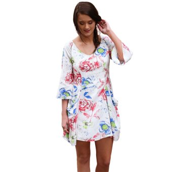 Zaful Chiffon Printed Dress Side Pocket Design Woman Three Quarter Sleeved - Intl