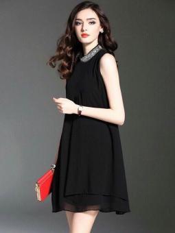 Đầm Xòe Cổ Kết Đá (M,L,XL)- V1006 Bui Nguyen (Đen)