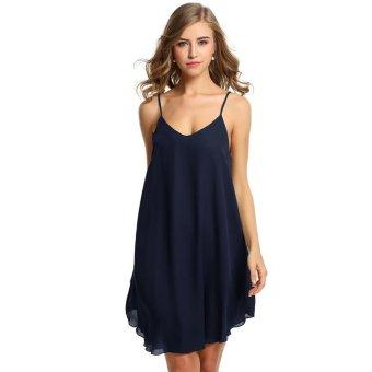 Linemart Zeagoo Women V-Neck Spaghetti Strap Chiffon Sundress Sleeveless Beach Dress ( Navy Blue ) - intl