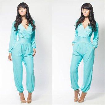 Gamiss Women V-neck Corset Elastic Sleeve Jumpsuit (Sky Blue) - intl