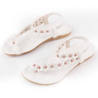 OH Summer Fashion Women Casual Floral Flat Shoes Beach Sandals Slippers Shoes white 39 - intl