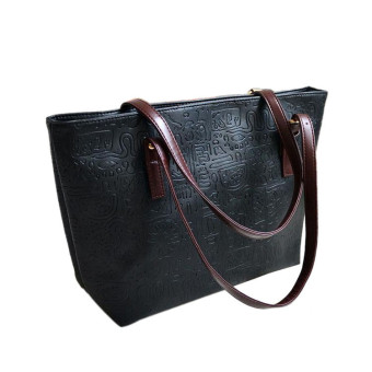 Simple Winter Larger Capacity Leather Women Bag Messenger Black - Intl