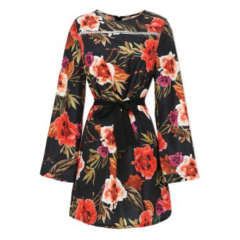 Long Sleeve Floral Print Dress Vestidos De Fiesta - intl