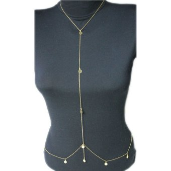 HKS Simple Gold Harness Bikini Beach Crossover Belly Body Chain Necklace Gold - intl