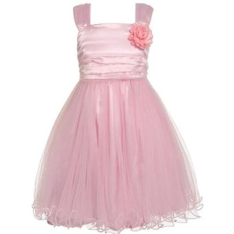 Linemart Kids Girls Square Collar Sleeveless Flower Double Net Yarn Tank Party Dress with Lining ( Pink ) - intl